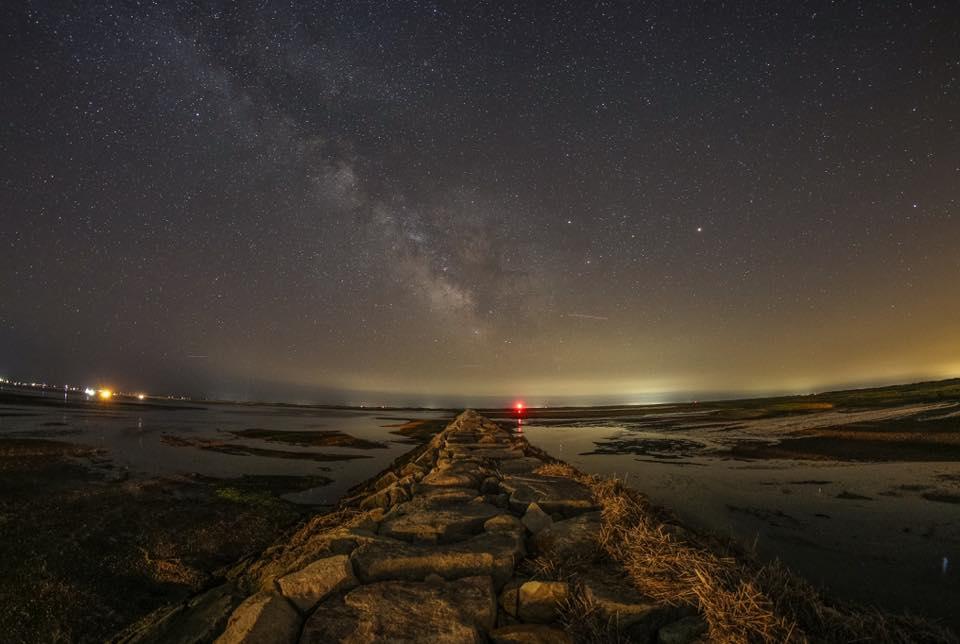 breakwater at night