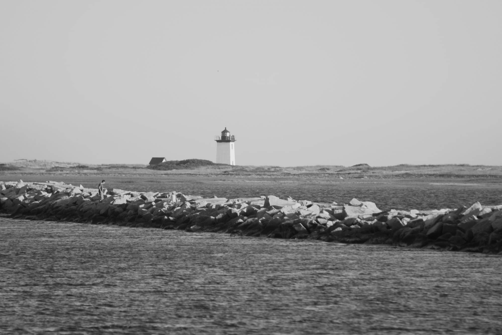 breakwater lighthouse b&w